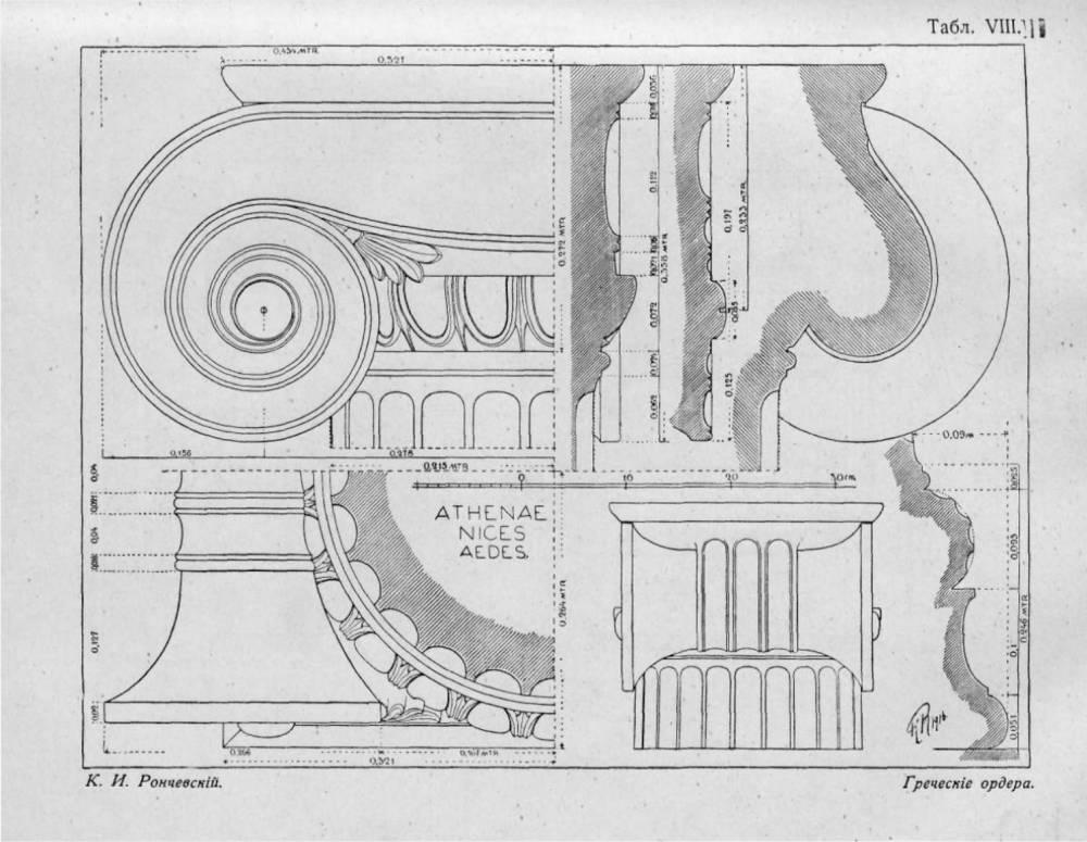 Схемы фасадов храмов Посейдона